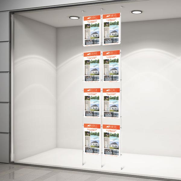 Colonne affichage vitrine 8xA4 pour agence immobiliere