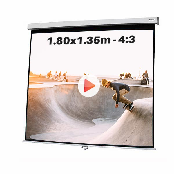 Ecran de projection manuel pour video projecteur, format 1,8  x 1,35m , ecran 4/3