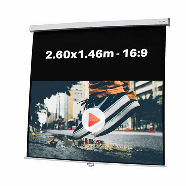 Ecran de projection manuel pour video projecteur, format 2,60 x 1.46 m , ecran 16/9
