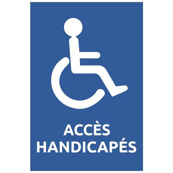 Panneau de sécurité accès handicapés fond bleu , prix degressif