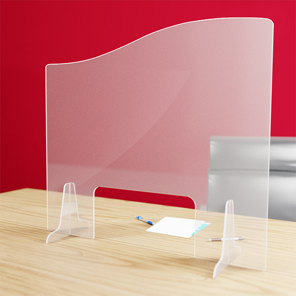 Hygiaphone vague protection plexiglas 3 mm 110 x 97 cm avec passe document