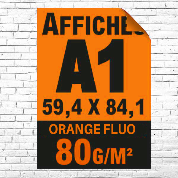 Lot affiche fluo orange A1 recto impression noire à partir de 5 unités