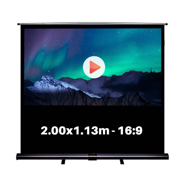 Ecran de projection roll-up pour video projecteur, format 2,0 x 1,13  m , ecran 4/3