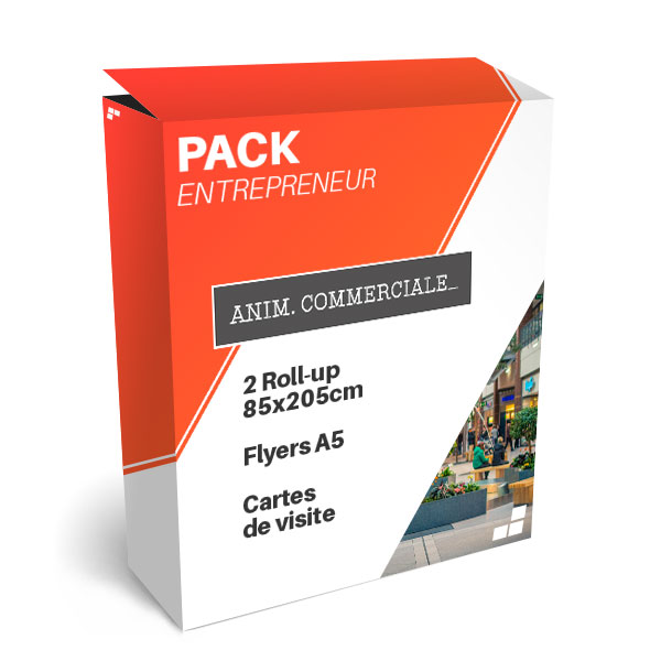 Pack entrepreneur pour animation commerciale, roll-up , flyer et carte de visite discount