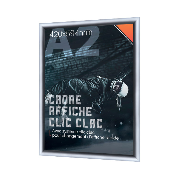 Cadre Affiche Clic Clac A2 En Aluminium, Profilés 25 Mm Arrondis