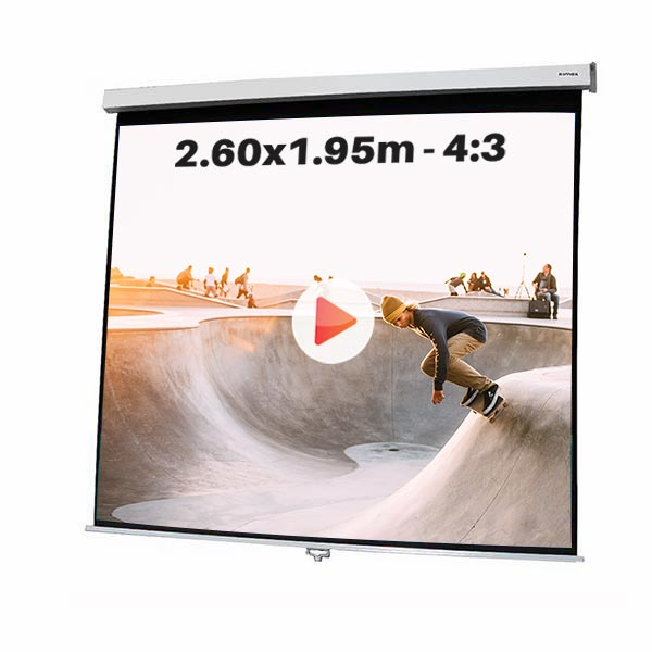 Ecran de projection manuel pour video projecteur, format 2,6 x 1.95 m , ecran 4/3