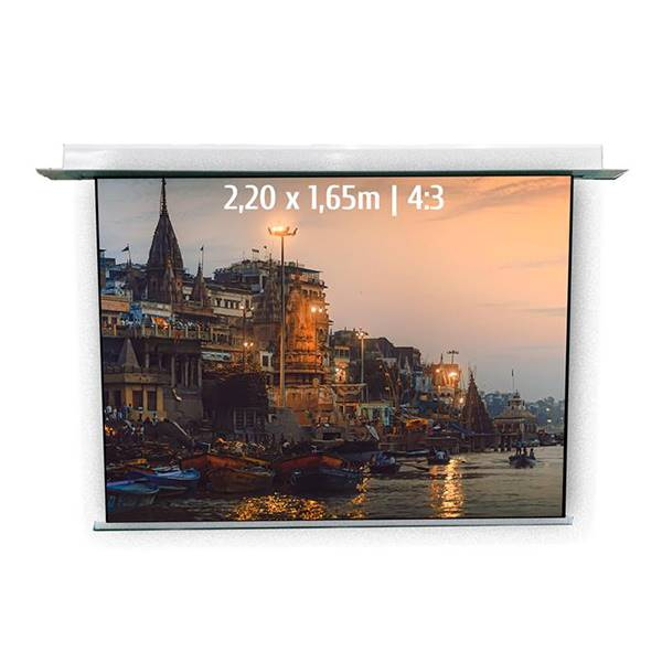 Ecran de projection motorisé encastrable pour video projecteur, format 2,2 x 1,65  m , ecran 4/3