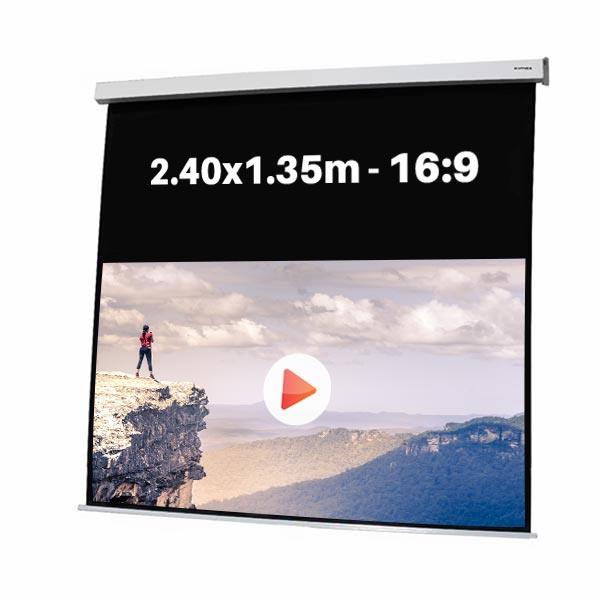 Ecran de projection motorisé pour video projecteur, format 2,4 x 1,35 m , ecran 16/9