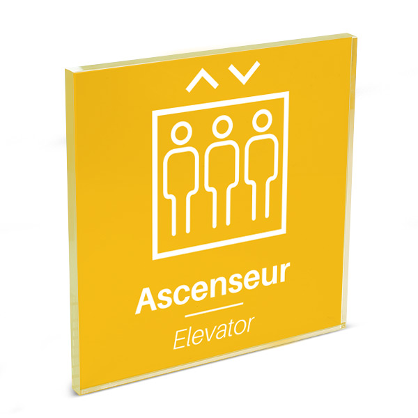 Plaque de porte plexi color uni jaune picto ascenseur 120 x 120 mm