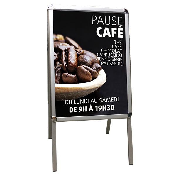 Chevalet stop trottoir aluminium, affiche 500X700 mm et protection plexiglas
