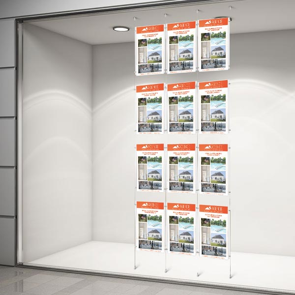 Colonne affichage vitrine 12xA4 pour agence immobiliere