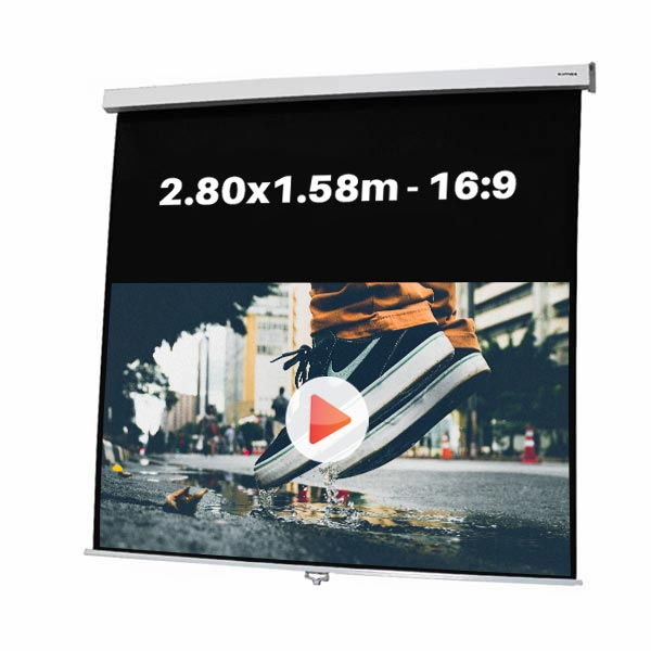 Ecran de projection manuel pour video projecteur, format 2,80 x 1.58 m , ecran 16/9