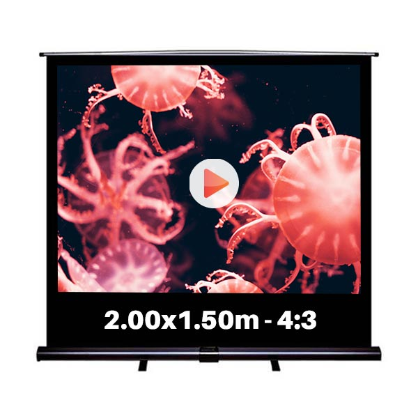 Ecran de projection roll-up pour video projecteur, format 2,0 x 1,5  m , ecran 4/3