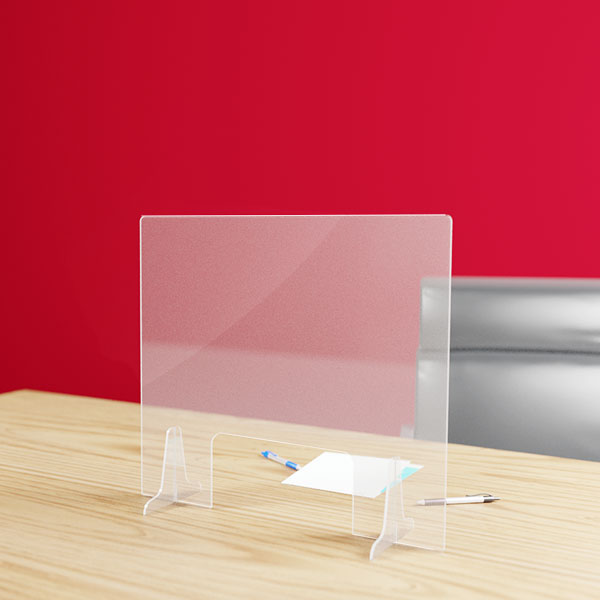 Hygiaphone protection plexiglas 3 mm avec passe document, format 700 x 617 mm