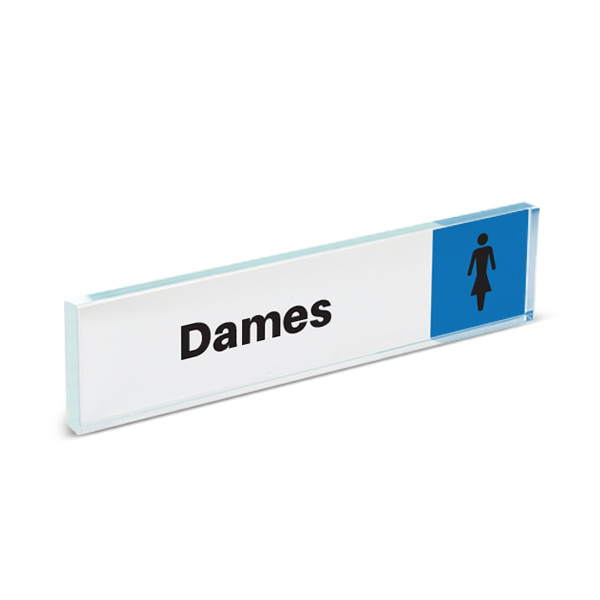Plaque de porte plexiglass pictogramme toilettes dames