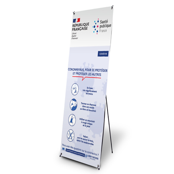 X-Banner format 600 x 1600 mm ,avec impression information protection convid-19