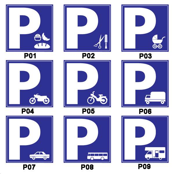 Panneau  de parking pvc 3 mm format 45 x 45 cm