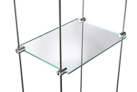 Exemple de suspension de tablette en verre sur tige inox