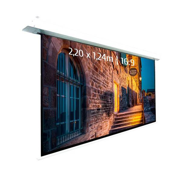 Ecran de projection motorisé encastrable pour video projecteur, format 2,2 x 1,24  m , ecran 16/9