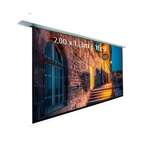 Ecran de projection motorisé encastrable pour video projecteur, format 2 x 1,13  m , ecran 16/9