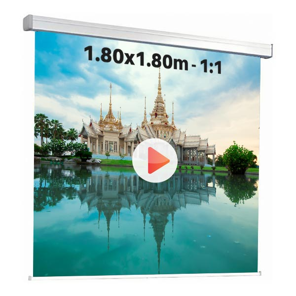 Ecran de projection manuel pour video projecteur, format 1,8 x 1,8 m , ecran 1/1