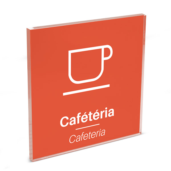 Plaque de porte plexi color uni orange picto cafeteria 120 x 120 mm