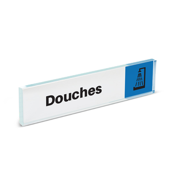 Plaque de porte plexiglass pictogramme douches