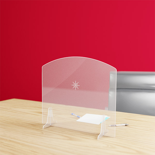 Hygiaphone arrondi protection plexiglas 3 mm avec parloir, format 700 x 617 mm