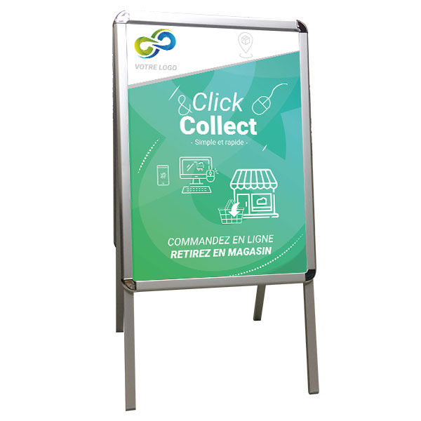 Stop trottoir aluminium impression click and collect 500X700 mm et protection plexiglas