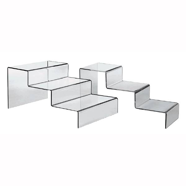 Presentoir plexi escalier 3 marches, lot de 5