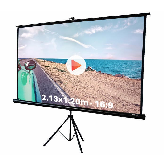 Ecran de projection trépied pour video projecteur, format 2,13 x 1.2 m , ecran 16/9