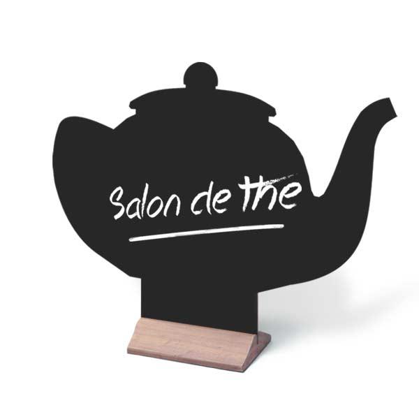 Menu de table ardoise forme théière pour salon de thé